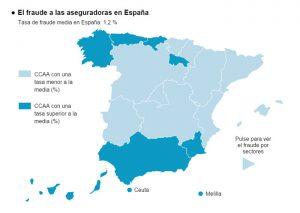 Mapa España fraude a aseguradoras por comunidades