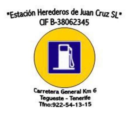 """Logo gasolinera Tegueste """"Estación Herederos de Juan Cruz"""""""