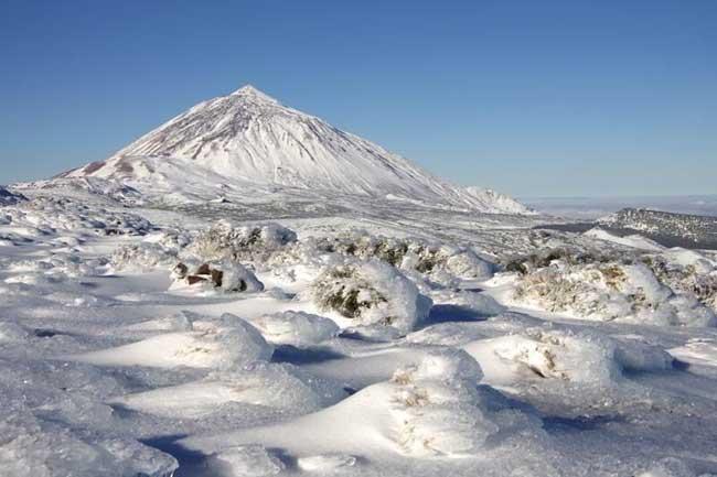 Imagen del Teide nevado, Tenerife