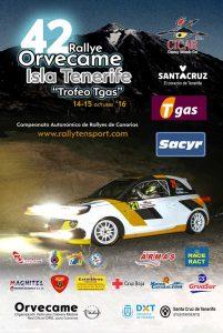 Cartel 42 Rallye Orvecame Isla Tenerife - Trofeo Tgas 2016